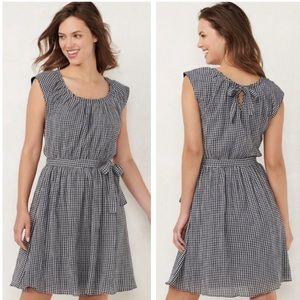 LC Dark Gingham Sleeveless Belted Mini Dress